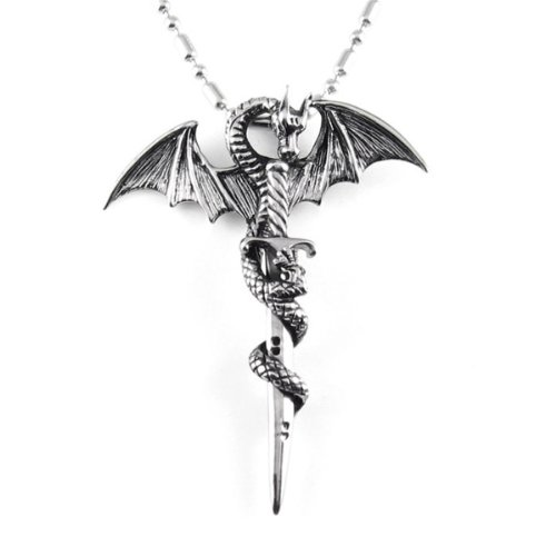 """Chaomingzhen Stainless Steel Vintage Cross Dragon Mens Pendant Necklace with Chain19.5"""" Gothic Punk Style"""
