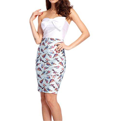 Waooh - Kurzes Kleid Muster Vögel Arcy Weiß-Türkis