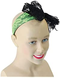 80's Neon Lace Headband. Green