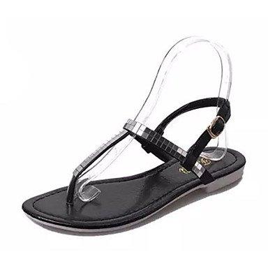CH&TOU Damen-Slippers & Flip-Flops-Lässig-PU-Flacher AbsatzSchwarz Silber Black