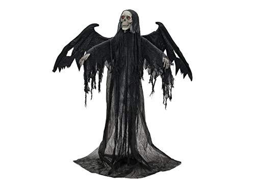 EUROPALMS Animierte Halloween Figur Schwarzer Engel   Blinkende Rote LED-Leuchteffekte in den Augen   Geisterhafter Soundeffekt   Kopf- und Flügelbewegung   Batteriebetrieben   Höhe 175 cm