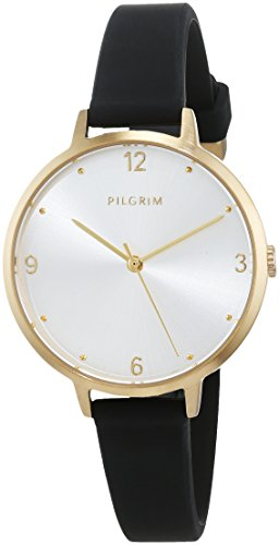 Pilgrim Damen Armbanduhr, Analog, Quartz, gold + schwarz Silikon Baia 701812117