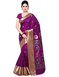 Varkala Silk Sarees Women's Art Silk Paithani Saree With Blouse Piece(JB5001WTPGPV_Purple_Free Size)
