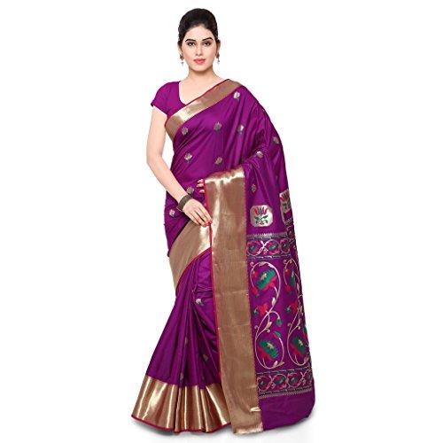 Varkala Silk Sarees Women's Art Silk Paithani Saree With Blouse Piece(JB5001WTPGPV_Purple_Free Size)