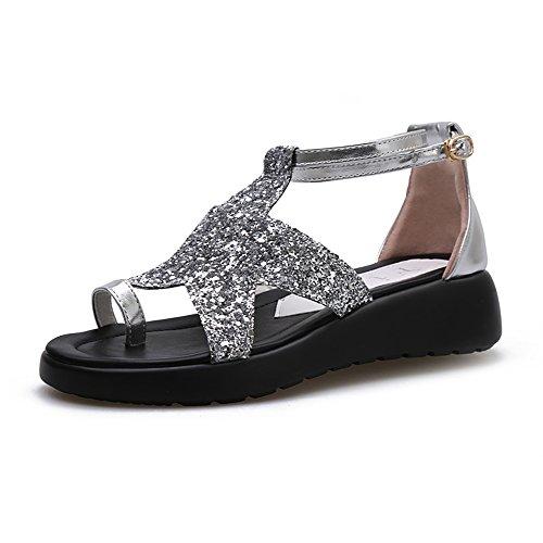 Infradito Sandali Pattini piani delle scarpe da spiaggia delle donne femminili 4cm (blu / viola / argento) elegante ( Colore : Viola , dimensioni : EU39/UK6.5/CN40 ) Silver