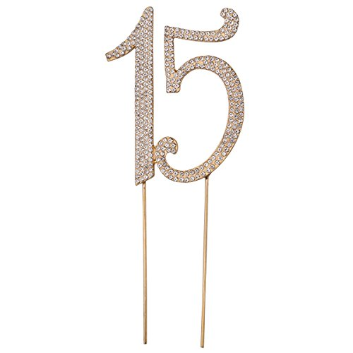 15 Cake Topper for 15th Birthday Party Or Anniversary Crystal Rhinestones Decorative Cake Topper for Party Supplies (Gold)