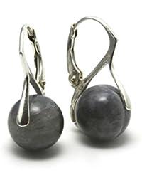 Mystic Silver - Preciosos Pendientes - Piedra natural de Labradorita Alta Calidad, Plata de ley 925. 23mm 4g