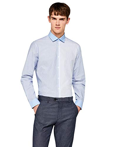 Find. camicia a righe a manica lunga uomo, blu (blue), large