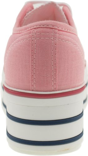 Maxstar C50 6 trous plate-forme basse table Trendy Chaussures-baskets Rose - rose