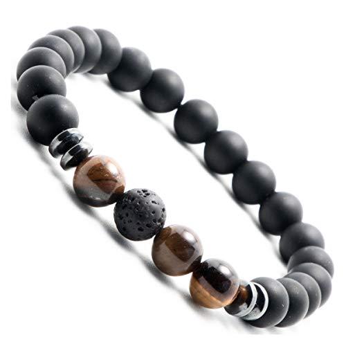 Tiefschwarzes Onyx-Perlen Armband für Herren | Männer Perlen Armband mit Lavastein | Perlen-Armband mit Naturstein (Dunkel-Braun) (Onyx Braun(Medium 20-22cm)) - Medium Armband