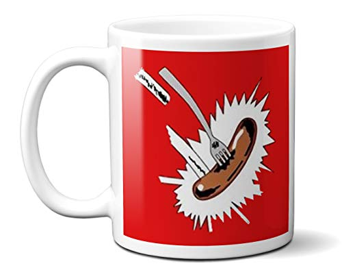 * NEW * Grange Hill Flying Fork and Sausage Mug - Funny Gift