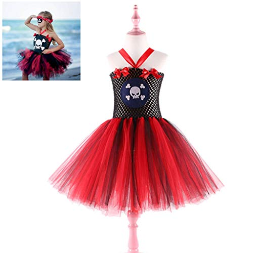 Kostüm Red Jester - DONGBALA Piratenkleidung, Halloween Mädchen Kleid Cosplay Kostüm Schulaufführung Karneval verkleiden Sich Party Performance Suit für Mädchen,Red,140cm