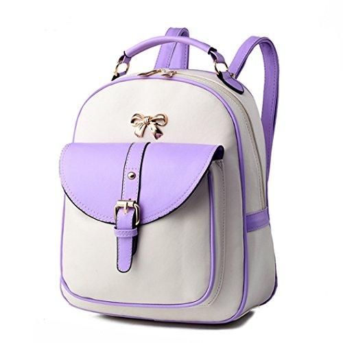 Zaino scolastico dello zaino del sacchetto di viaggio della spalla della cartella di cuoio di modo delle donne Bianco&Purple