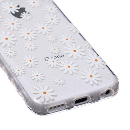 iphone 5C Coque, MYTH Doux Flexible - Beau Papillon Slim Silicone Ultra Mince TPU Bumper Protection Housse Pour iphone 5C Beau Blanc Fleurs