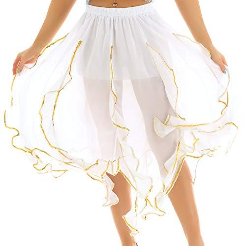Tanzkostüm Rosa Und Schwarze - FEESHOW Damen Tanzrock aus Chiffon mit Rüschen asymmetrisch Gefüttert Rock Belly Dance Tanzkostüm Dunkelblau/Hellblau/Rosa/Schwarz/Violett/Rot/Weiß Weiß One Size