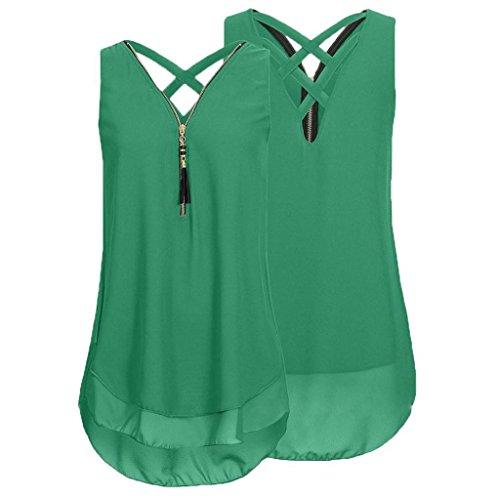 Rovinci Damen Chiffon Bluse Ärmellos V Ausschnitt Reißverschluss Vorne zurück aushöhlen Tank Tops T-Shirt Frauen Sommer Elegant Weste Hemdbluse Unregelmäßigkeit Unterhemd