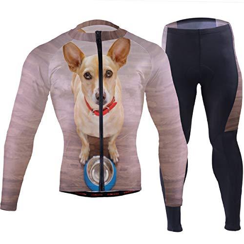 Hungrig Langarm (SUNOP Herren Langarm Radsportbekleidung Set Atmungsaktiv Schnell Trocknend Mountainbike Anzug Kleidung mit Hungriger Hund Muster)