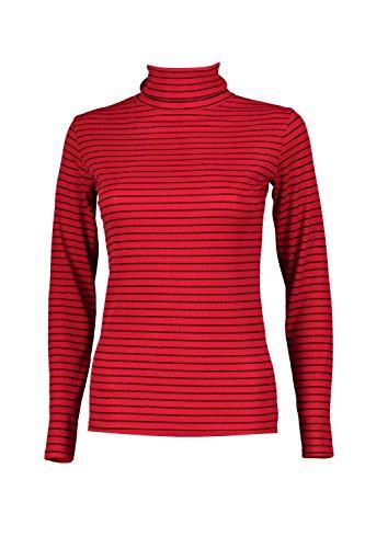 Femmes rouge Harriet Top Manches Longues À Rayures Et Col Montant Rouge