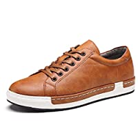 NEOKER Skateboarding Shoes Mens Casual Leather Sneakers Lace up Business Work Office School Formal Shoes (Brown, 43)(Size: 9 UK)(265)