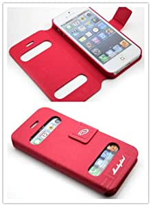 Nine Seas High Quality New Folio PU Leather Wallet Case with Cover for Apple iPhone 5 5g with Cut-out for Time-checking & Bulit-in Stand & Magnet Closure Retail Package Red (Color Varies)