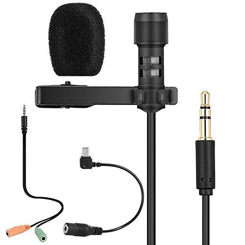 Lavalier micrófono de solapa - Micrófono de condensador omnidireccional Perfecto para grabar YouTube grabación de vídeo, dictación de voz, ASMR, fácil clip en micrófono de cancelación de ruido