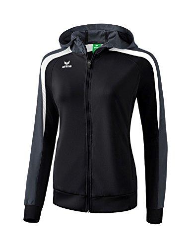 Erima Damen Liga 2.0 Trainingsjacke mit Kapuze Jacke, schwarz/Weiß/dunkelgrau, 38