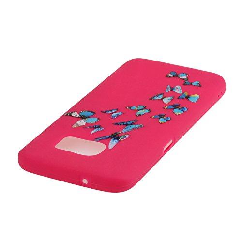 Voguecase® für Apple iPhone SE 5 5S 5G hülle, Schutzhülle / Case / Cover / Hülle / TPU Gel Skin (Gelb/Lila Traumfänger) + Gratis Universal Eingabestift Rosa/Blau Schmetterling 08