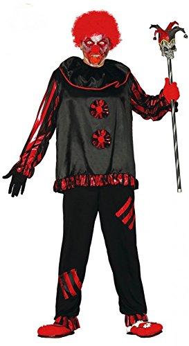Clown Killer Kostüm Herren - shoperama Horror-Clown Herren-Kostüm Schwarz/Rot Evil Killer Halloween Gr. M/L