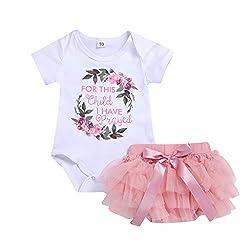 Yanhoo Kids Baby Floral Letter Romper Bodysuit+Tutu Dress Sets Girl Outfits Clothes Baby Mädchen Geburtstag Set Romper + Ballettröckchen Party Kleid 0-2 Jahre