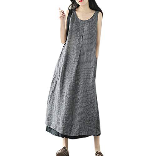 Frau Lose Gestreiftes Gerafftes Spleißen Ärmellos Bettwäsche Aus Baumwolle Taschen Übergröße Langes Kleid (42, Grau) - Asymmetrische Geraffte Kleid