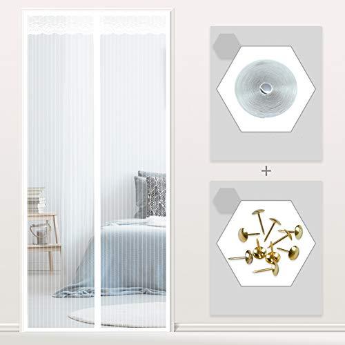 Heavy duty Cifrado Puerta mosquitera Cortina de mosquito, Etiqueta engomada mágica de fotograma completo Mosquitera magnética para puertas Niño y perro amistoso-Blanco 80x190cm(31x75inch)