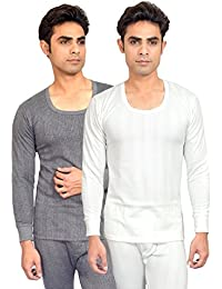 RedFort Men's White::Grey Thermal Top Pack of 2 White and Grey Color