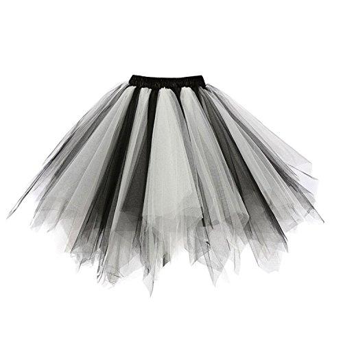 Ellames Damen 50er Vintage Petticoat Party Dance Tutu Rock Ballkleid Schwarz-Weiß L/XL (Rock Weiß Schwarz)