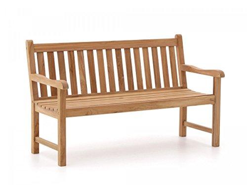 Stabile Gartenbank Sunyard Wales aus massivem, unbehandeltem Holz, Teakholz 3 Sitzer 150 cm