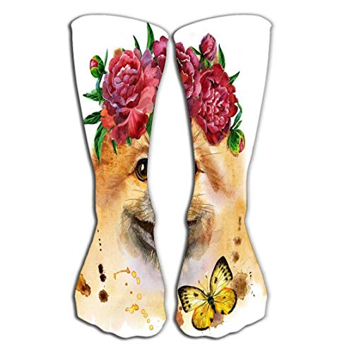 zsxaaasdf High Stockings Athletic Compression Long Socks for Men's Women and Girls 19.7'(50cm) Cute Dog Watercolor Pomeranian Spitz Wreath Peonies Portrait Flow