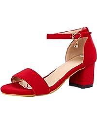 TAOFFEN Mujer Zapatos Western Tacon Medio Punta Abierta Sandalias De Al Tobillo
