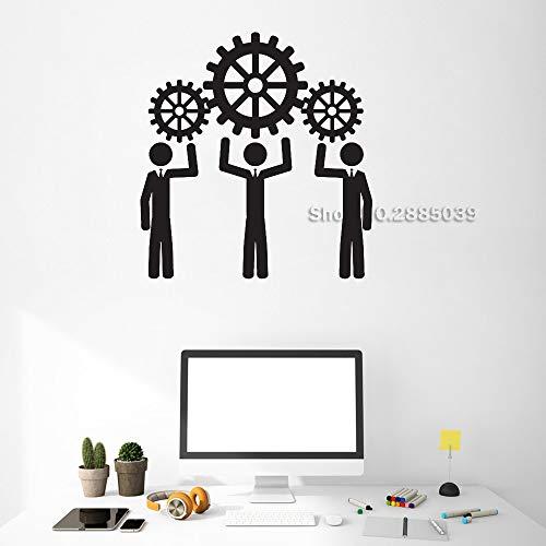 guijiumai Adesivi in   Vinile Adesivi murali Persone Lavorare Pensiero Ruota Ufficio Lavoro di Squadra Business Room Adesivi d'Arte Mural Interior Decor L 8 56cm x 58cm