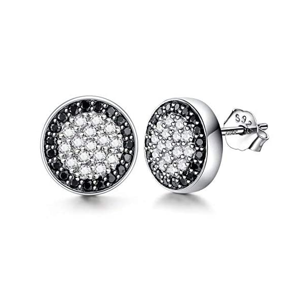1bacba188f3d0 Lydreewam Men Earrings Fashion 925 Sterling Silver Stud Earrings with  White/Black Micro Pave Cubic Zirconia, Diameter 10mm