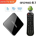 【2019 TV BOX / 4GB + 64GB】H96 MAX Android 8.1 TV Box 4G + 64G Amlogic S905 X2 Quad Core ARM Cortex A53 Smart Set-top box, Support 2.4G / 5.8G Dual Wifi /3D/4k/USB3.0