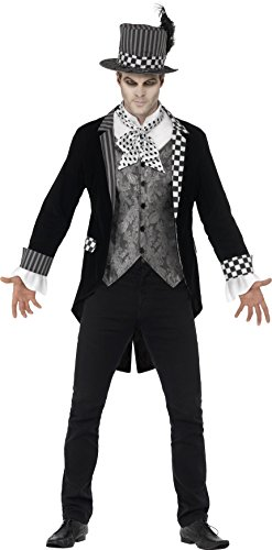 Smiffy's 44393M - Deluxe Dunkel Hatter Kostüm mit Jacke Mock Shirt und Top Hat (Halloween Kostüm Frack)