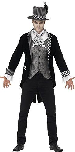 Deluxe Kostüme (Smiffy's 44393XL - Deluxe Dunkel Hatter Kostüm mit Jacke Mock Shirt und Top)
