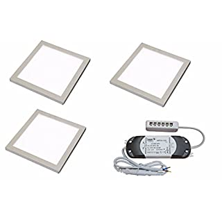 3 X SQUARE KITCHEN LIGHT SLIM FLAT PANEL UNDER CABINET CUPBOARD COOL WHITE LED