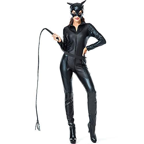 ADFHGFJ Fräulein Whiplash Kostüm der Erwachsenen Frauen, Reißverschluss-Catsuit Halloween-Kostümkatzen-Mädchenrolle, die Cosplay Katzenkostümnachtsshowleistung spielt,