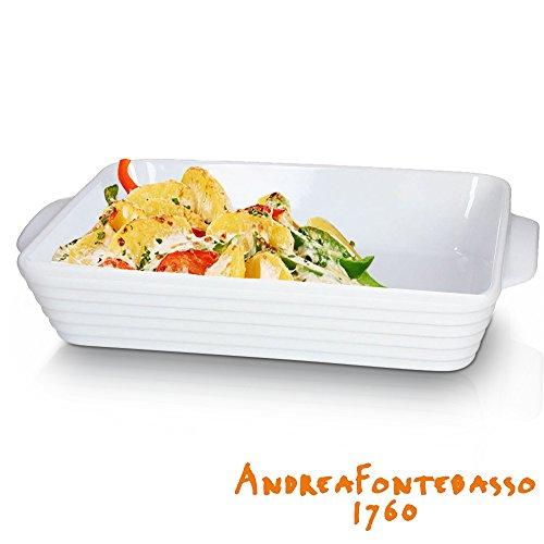 Andrea Fontebasso Auflaufform - 38 x 21 cm - Hochwertiges Porzellan - Geeignet für Mikrowelle, Ofen und Spülmaschine - Ergonomische Griffe