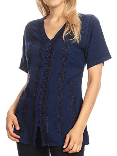 Sakkas 1665 - Estella Damen Kurzarm V-Ausschnitt Button Down Top Bluse mit Stickerei - Blau - XL -
