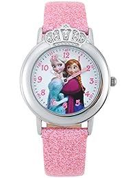 Disney  - Reloj de cuarzo para niña, correa de otros materiales color rosa