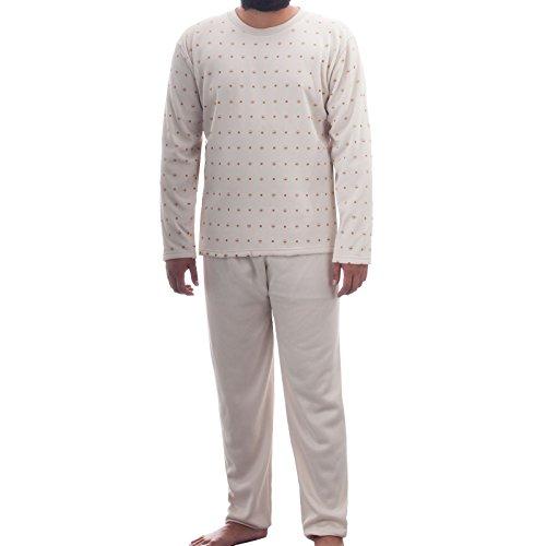 Lucky Herren Thermo Pyjama Rundhals angerauht mit grafischen Muster Schlafanzug Hausanzug, Farbe:Beige;Größe:M