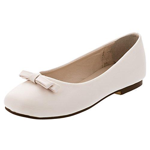 Festliche Mädchen Ballerinas Schuhe Schleife in Vielen Farben M344cr Creme 35