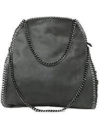 Handtasche VIVIEN Lederlook Damen Schwarz Grau Rosa Jeans Shopper Beuteltasche mit Kette (Dunkelgraue)
