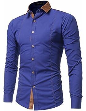 El otoño y el invierno, camisa de manga larga de Hombres camiseta cuello de gamuza Long-Sleeve